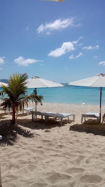 White sand beach philippines, travel vacation.