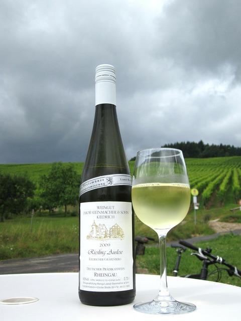 White wine bottle sky, nature landscapes.