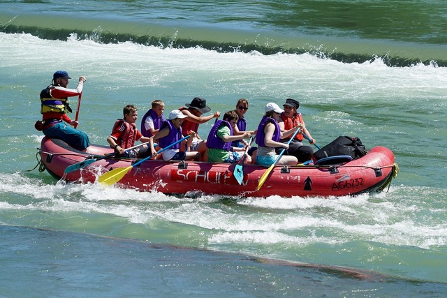 Whitewater rafts river flow.
