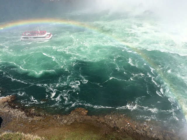 Whitewater rainbow ship, nature landscapes.