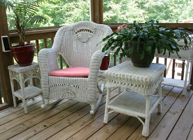Wicker rocking chair porch white table, architecture buildings.