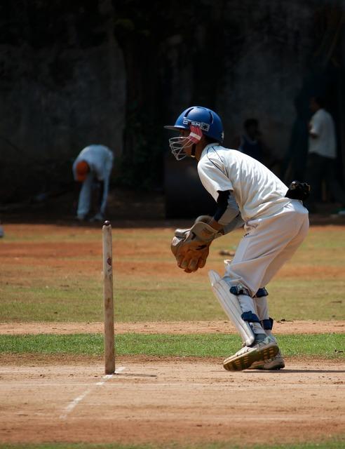 Wicket keeper sports cricket.