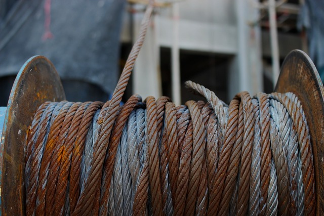 Winch cable rope, industry craft.