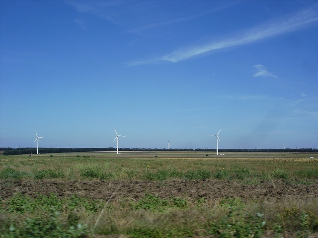 Wind farm electricity wind turbines, science technology.