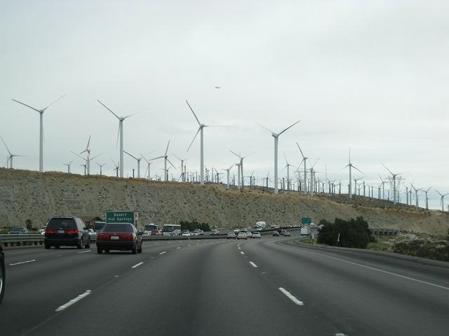 Wind power wind turbine road, transportation traffic.