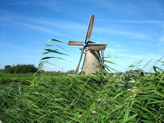 Windmill netherlands channel, nature landscapes.