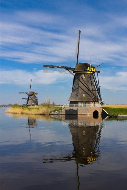 Windmill netherlands open air museum, nature landscapes.