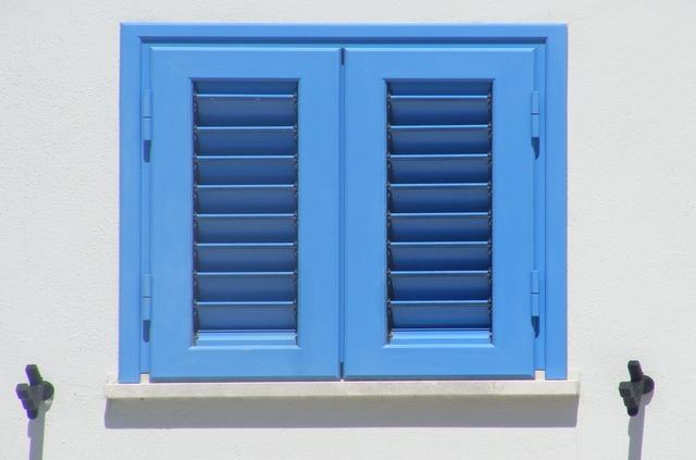 Window blue roll up door, architecture buildings.