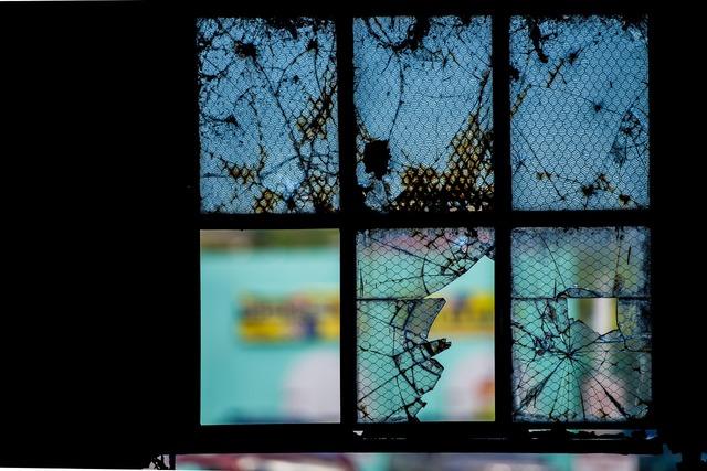 Window broken glass.