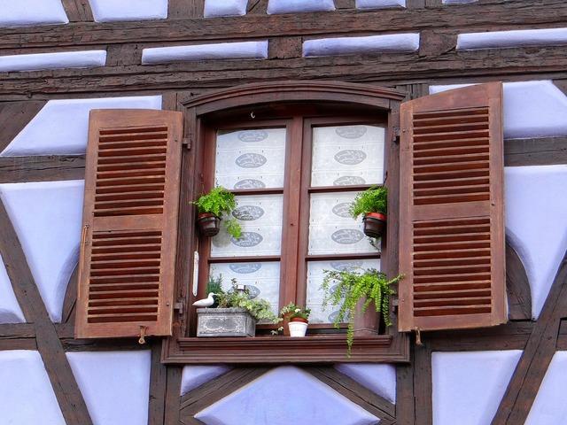 Window shutters truss, architecture buildings.