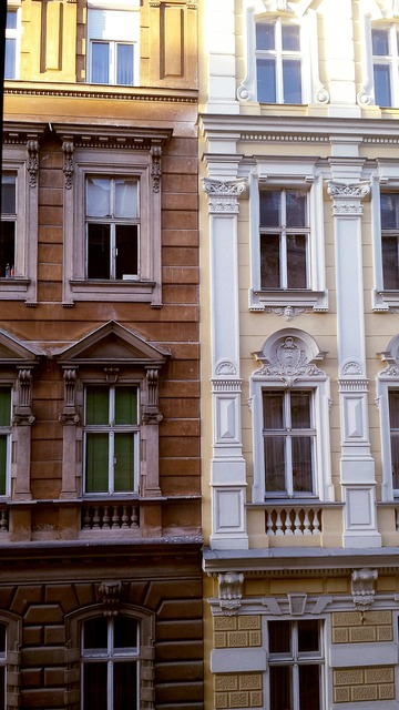Window wall facade, architecture buildings.