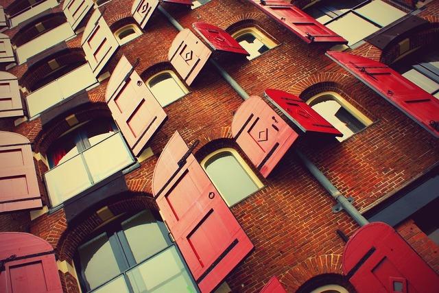 Windows shutters bricks, architecture buildings.