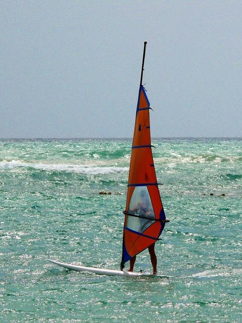 Windsurfing sport beach, sports.
