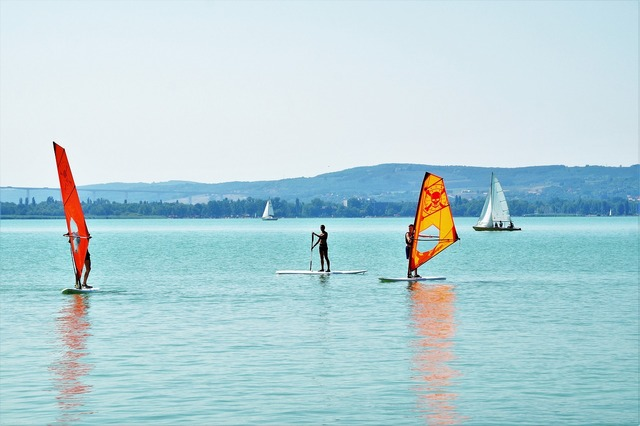 Windsurfing water sport sail.