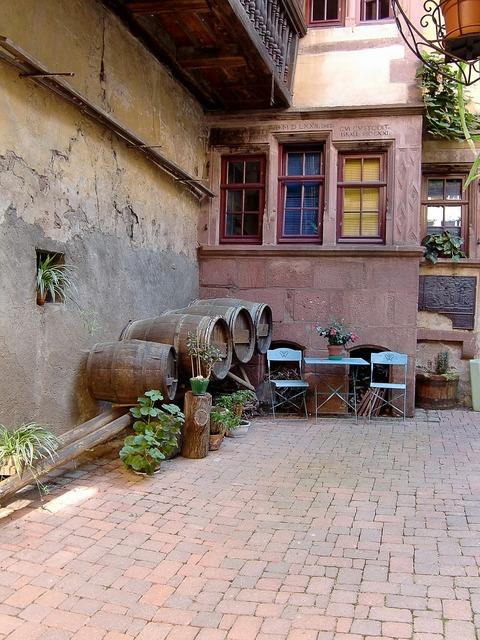 Wine barrels hof backyard.