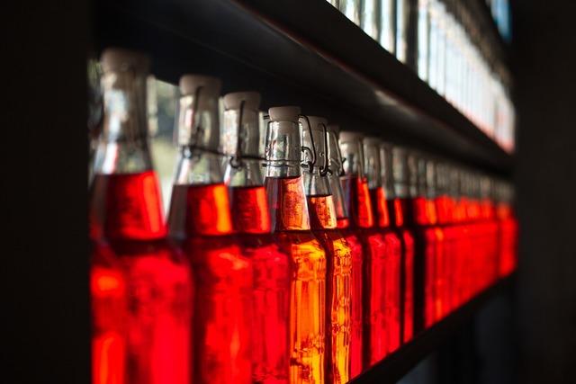 Wine bottles red.