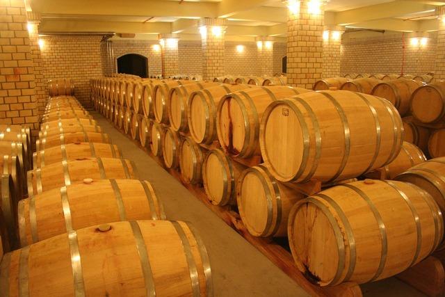 Wine cellar barrel.