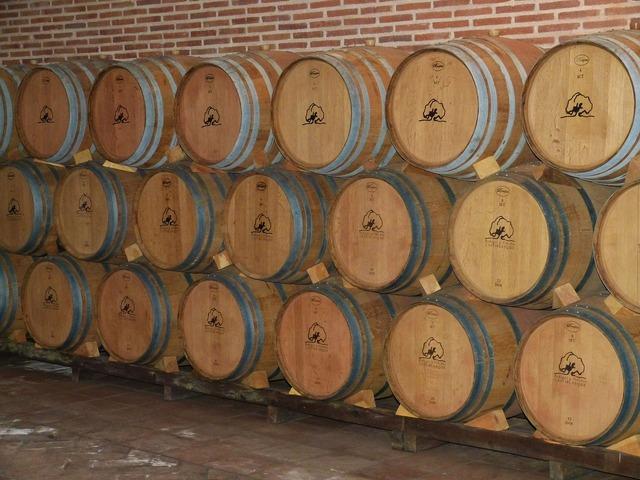 Wine cellar wine barrels.