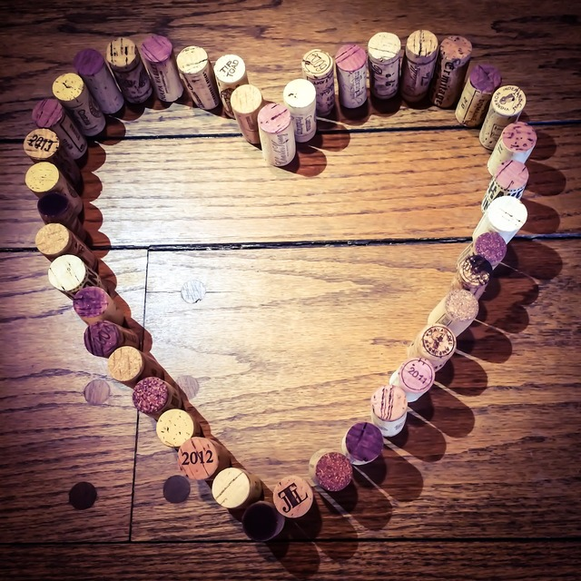 Wine corks heart wine, emotions.