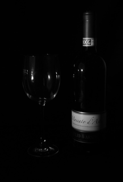 Wine glass black and white.