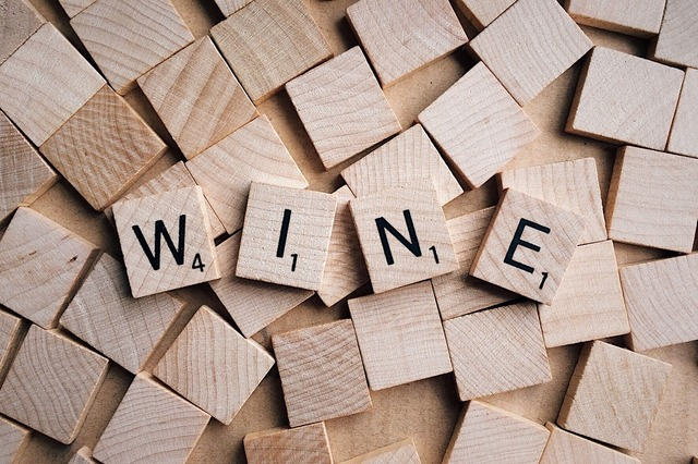 Wine word letters.