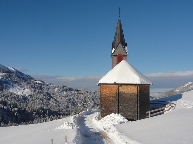 Winter chapel away, nature landscapes.