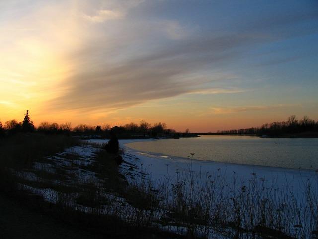 Winter sunset dusk, travel vacation.