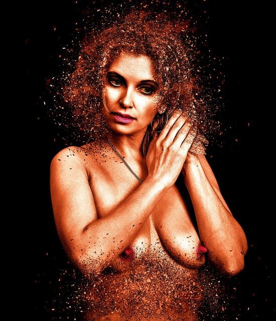 Woman act naked, beauty fashion.