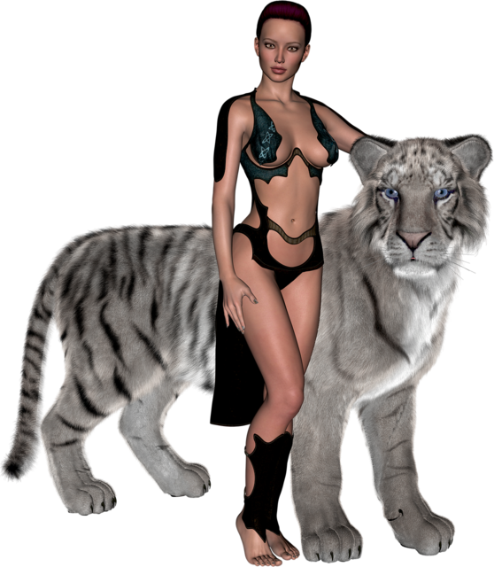 Woman amazone tiger, beauty fashion.