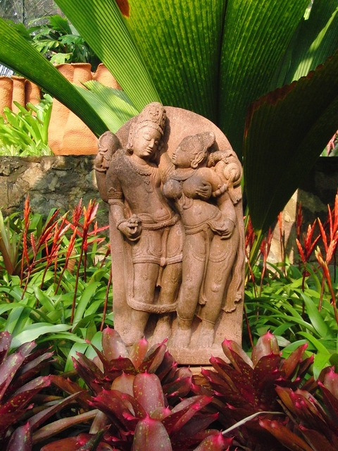 Woman and man sculpture thailand, religion.