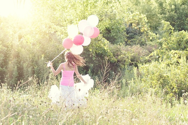 Woman balloons summer, beauty fashion.