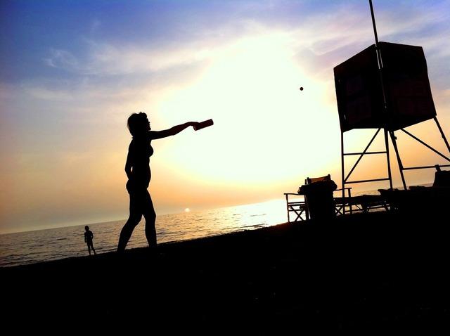 Woman beach back light, beauty fashion.