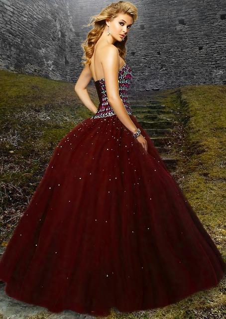 Woman beautiful red gown, beauty fashion.