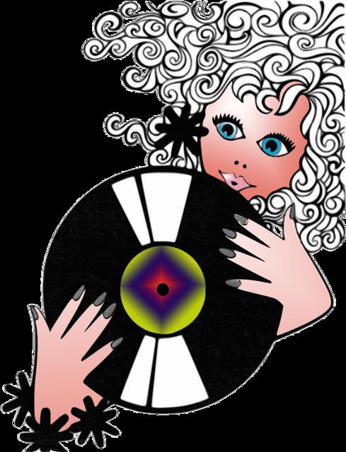 Woman disk music, beauty fashion.