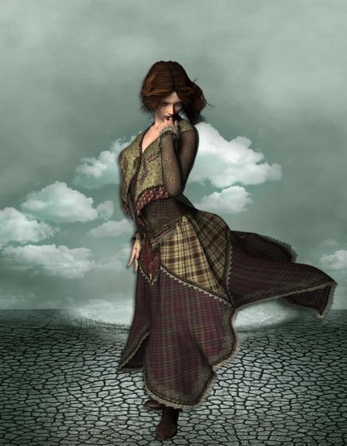 Woman fantasy desert, beauty fashion.