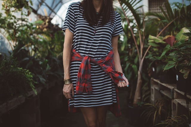 Woman girl stripped dress, beauty fashion.