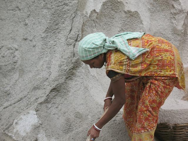 Woman labourer worker, beauty fashion.