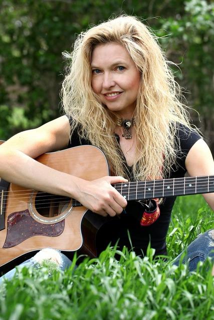 Woman music guitar, beauty fashion.