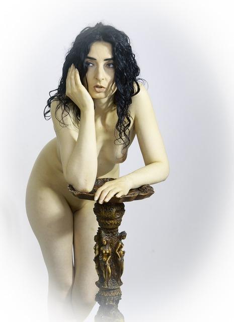 Woman naked sensual, beauty fashion.