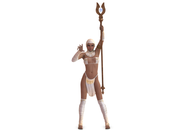 Woman priestess rod, beauty fashion.