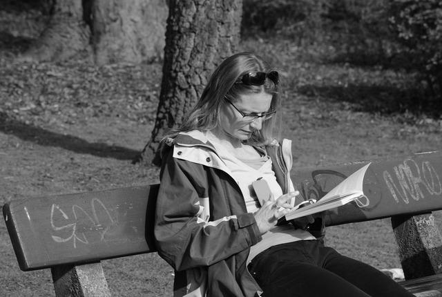 Woman read park, beauty fashion.