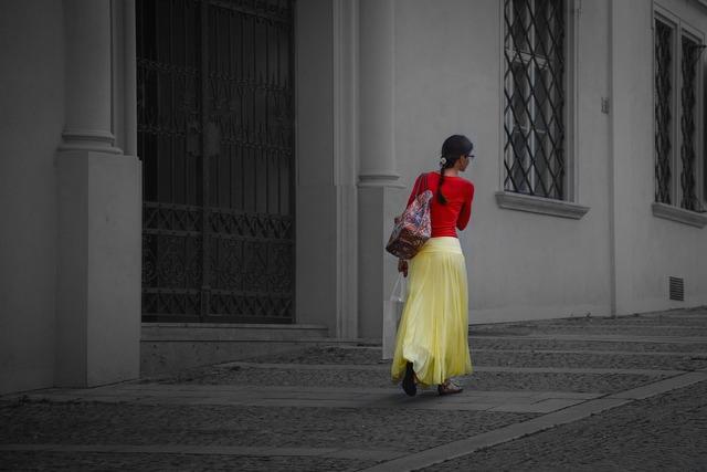 Woman red yellow, beauty fashion.