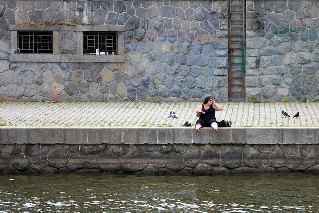 Woman river vltava, beauty fashion.