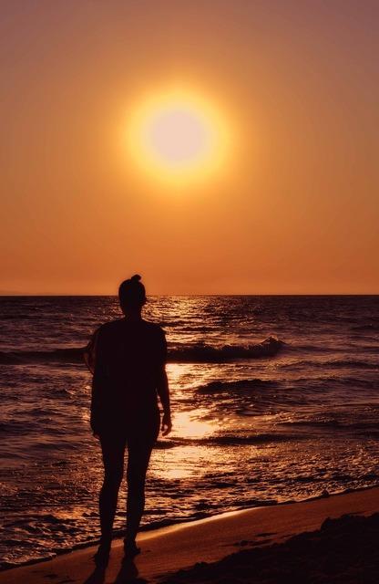Woman silhouette seaside seascape, beauty fashion.