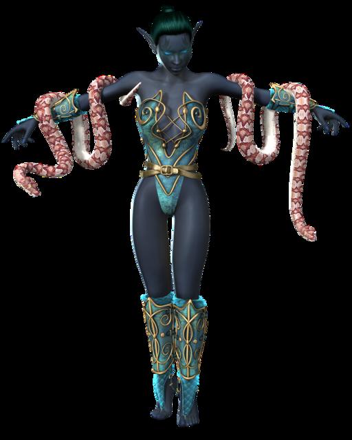 Woman snake amazone, beauty fashion.