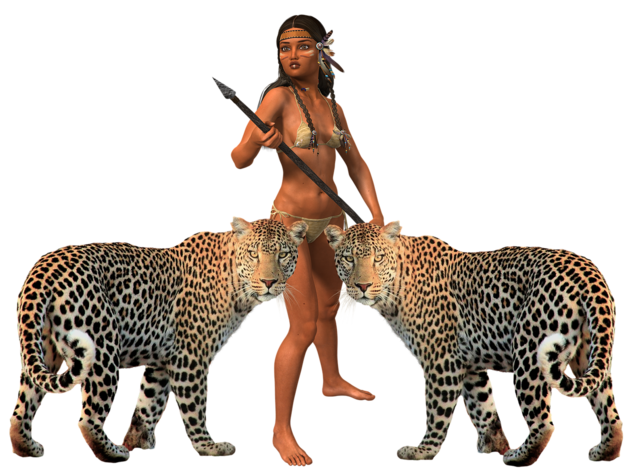 Woman tiger amazone, beauty fashion.