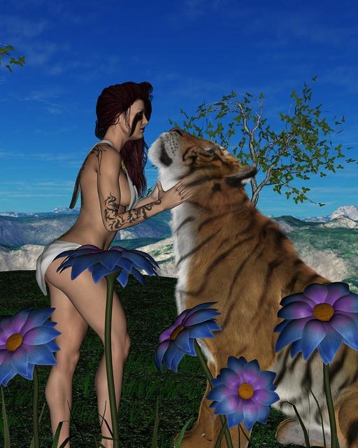Woman tiger love, beauty fashion.