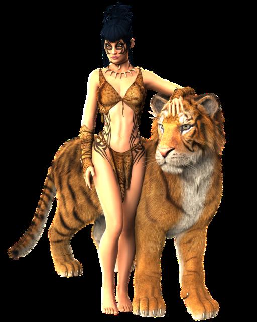 Woman tiger mystical, beauty fashion.