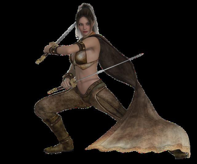 Woman warrior elegant, beauty fashion.