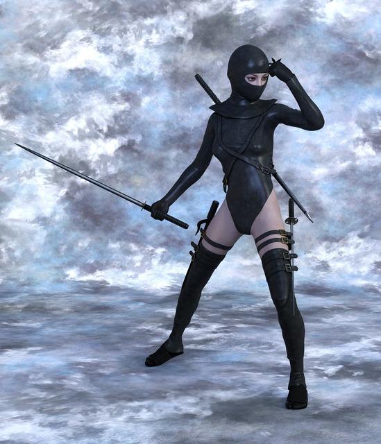 Woman warrior ninja, beauty fashion.